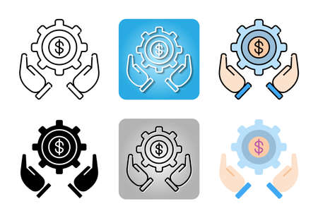 Business Strategy with operations icon set isolated on white background for web design Ilustracja