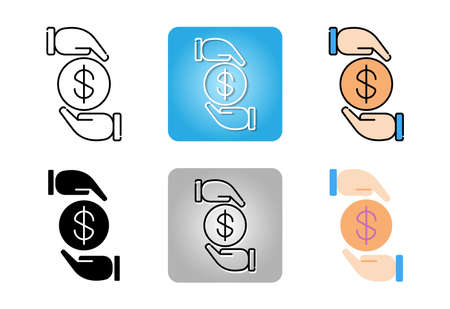 Protected money icon set isolated on white background for web design Ilustracja