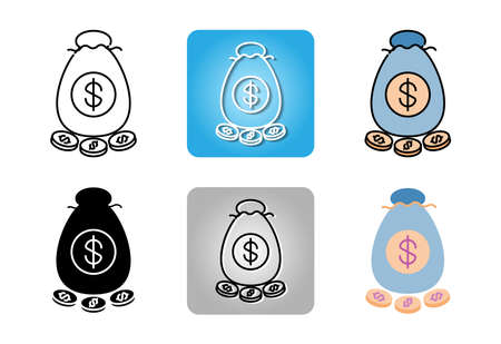 Dollar money bag icon set isolated on white background for web design Ilustracja