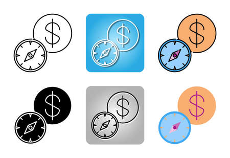 Business Strategy with compass and currency icon set isolated on white background for web design