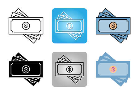 Dollar banknote  icon set isolated on white background for web design