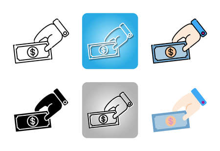 hands holding Dollar banknote icon set isolated on white background for web design Ilustracja