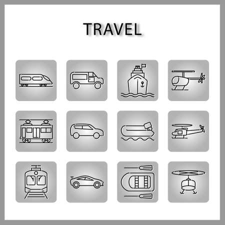 travel and vehicle icon set isolated on white background for web design Ilustracja