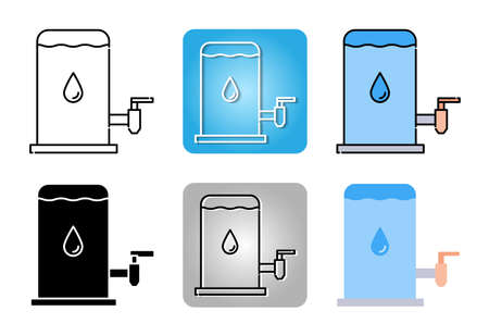 water tank for drink icon set isolated on white background for web design