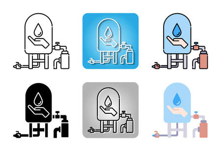 water pump station with water tank icon set isolated on white background for web design Ilustracja