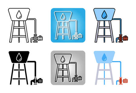 water pump station with water tank tower icon set isolated on white background for web design Ilustracja