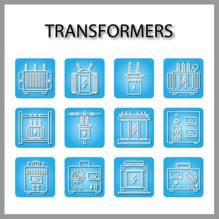 High voltage electrical transformer and Power supply icon set isolated on white background for web design