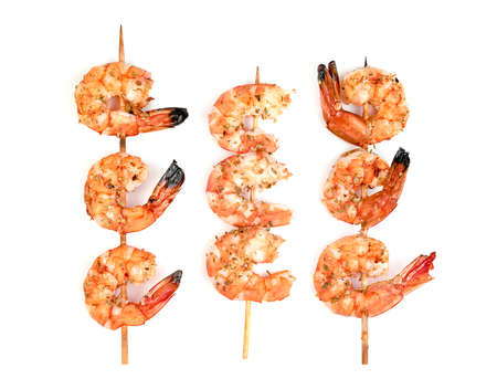 roasted peeled prawn with skewer isolated on white background ,grilled shrimp