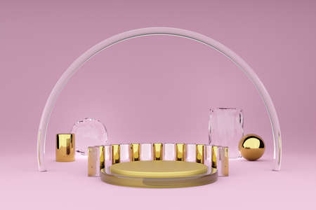 Podium with geometric shapes empty in pink composition for modern stage display and minimalist mockup ,abstract showcase background ,Concept 3d illustration or 3d render