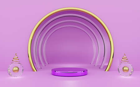 Podium with geometric shapes empty in purple or violet composition for modern stage display and minimalist mockup ,abstract showcase background ,Concept 3d illustration or 3d render Zdjęcie Seryjne