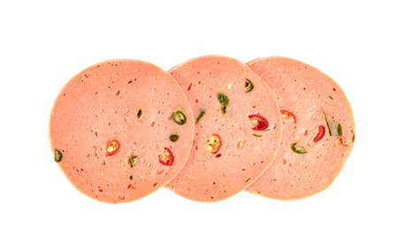 bologna sliced isolated on white background