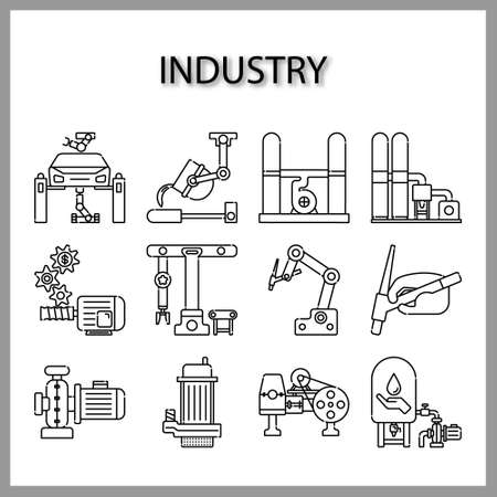 Industry machine icon isolated on white Stock Illustratie