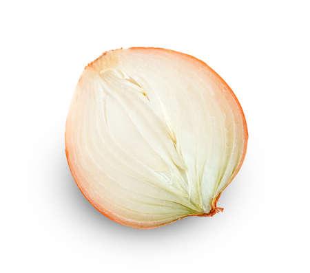Fresh Onion half sliced isolated on white background