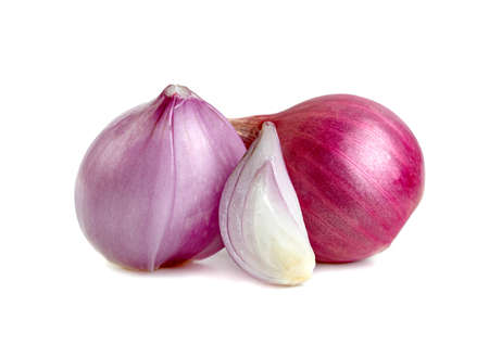shallots onion cut in half isolated on a white background