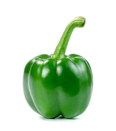 green sweet bell pepper isolated on white background