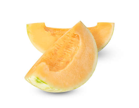 Orange cantaloupe melon fruit sliced isolated on white background ,include clipping path 版權商用圖片