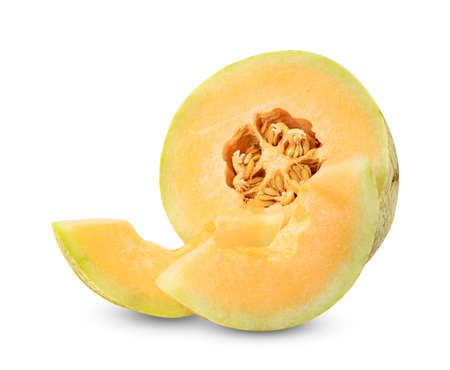 Orange cantaloupe melon fruit sliced isolated on white background
