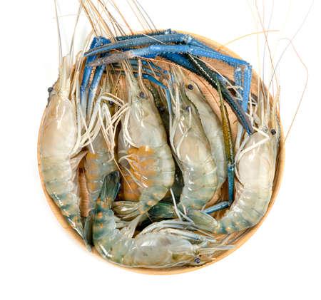 river shrimp common or Macrobrachium rosenbergii with wooden dish isolated on white background
