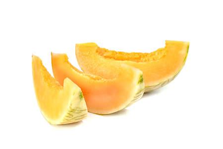 Orange cantaloupe melon fruit sliced isolated on white background