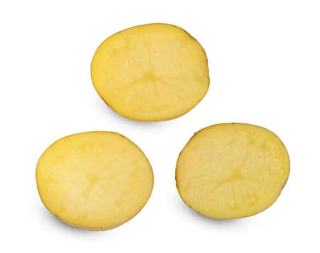 potatoes sliced isolated on white background
