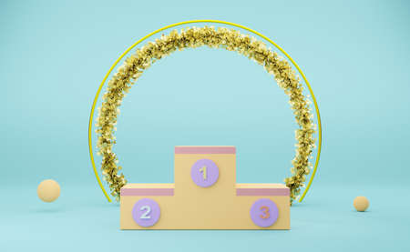 Empty winners podium in sky blue pastel composition for modern stage display and minimalist mockup ,abstract showcase background ,Concept 3d illustration or 3d render