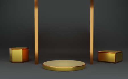 Gold podium empty with geometric shapes in Gray composition for modern stage display and minimalist mockup ,abstract showcase background ,Concept 3d illustration or 3d render Standard-Bild