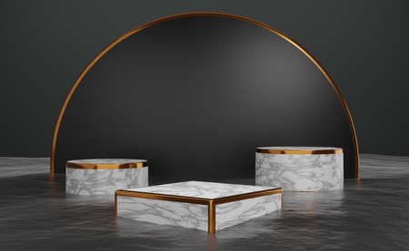 marble podium empty with water surface and geometric shapes in Gray composition for modern stage display and minimalist mockup ,abstract showcase background ,Concept 3d illustration or 3d render