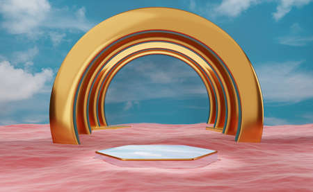 Gold podium empty with red ocean in blue sky composition for modern stage display and minimalist mockup ,abstract showcase background ,Concept 3d illustration or 3d render