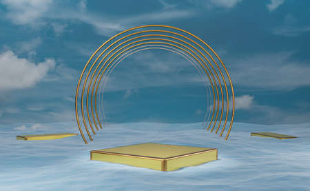 Gold  podium empty with water surface in blue sky composition for modern stage display and minimalist mockup ,abstract showcase background ,Concept 3d illustration or 3d render