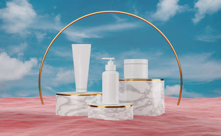 white skincare bottle blank packaging with red ocean and blue sky for modern stage display ,abstract showcase background ,concept beauty and spa, 3d illustration or 3d render