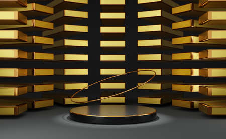 black podium empty with geometric shapes in Gray composition for modern stage display and minimalist mockup ,abstract showcase background ,Concept 3d illustration or 3d render Standard-Bild