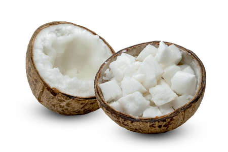 Coconut milk tropical fruit or fluffy coconut chopped isolated on white background Standard-Bild
