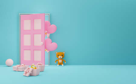 gift box with heart shaped balloon and door in sky blue pastel composition, valentine's day concept ,abstract showcase background ,3d illustration or 3d render