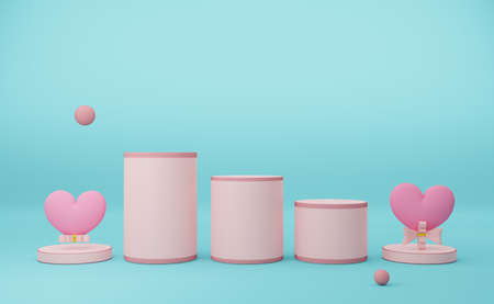 Podium empty with heart shaped balloon in sky blue pastel composition valentine's day concept ,abstract showcase background ,3d illustration or 3d render