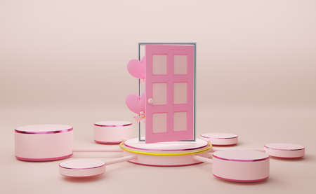 Podium empty with heart shaped balloon and door in sky blue pastel composition, valentine's day concept ,abstract showcase background ,3d illustration or 3d render