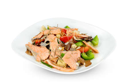 stir fried salmon with sweet bell pepper on dish isolated on white background ,include clipping path