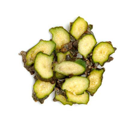 Tinospora cordifolia or Tinospora crispa sliced isolated on white background