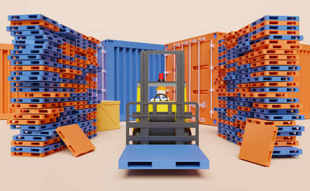 Stick man with shipping container for import export and forklift and goods and pallet ,logistic service concept ,3d illustration or 3d rendering Stock Photo