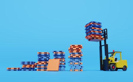 Stick man forklift driver with pallet for import export and goods ,logistic concept ,3d illustration or 3d rendering