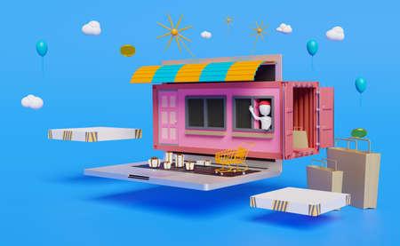store on website computer laptop trade concept in blue background ,3d illustration or 3d rendering