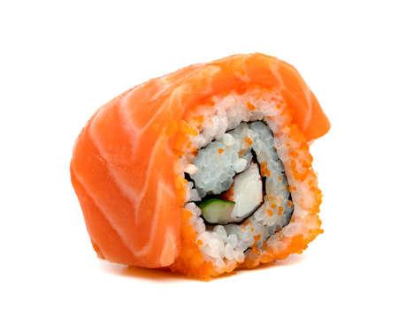 rolled sushi salmon nigiri isolated on white background, Japanese food