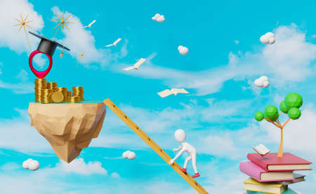 Stick man and pin with book and graduation hat,floating island ,Gold coin in sky background ,graduate and success concept ,3d illustration or 3d rendering