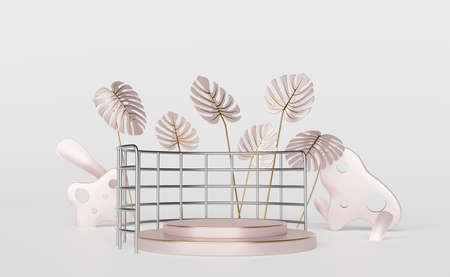 podium empty with leaf monstera in white composition for modern stage display and minimalist mockup ,abstract showcase background ,Concept 3d illustration or 3d render Stock Photo