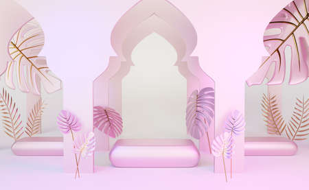 podium empty with arch and leaf palm in pink composition for modern stage display and minimalist mockup ,abstract showcase background ,Concept 3d illustration or 3d render Stock Photo