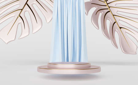 podium empty and blue curtain with arch and leaf monstera in white composition for modern stage display and minimalist mockup ,abstract showcase background ,Concept 3d illustration or 3d render