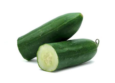 Fresh japanese cucumber sliced isolated on white background Stock Photo