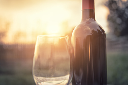 Sunset wineglass Stock Photo