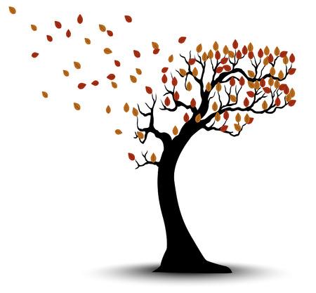 Silueta del árbol del otoño decorativo con las hojas marrones y viento