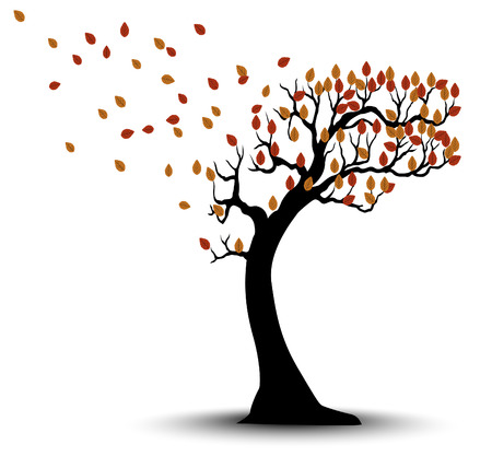 Decorative Autumn Tree Silhouette With Brown Leaves And Wind