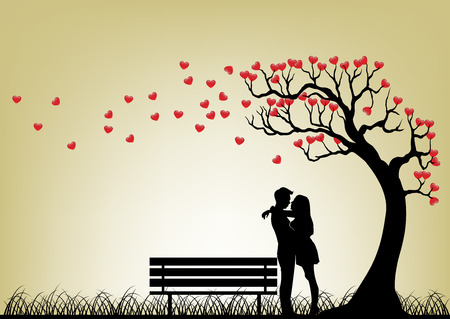 couples in love: Citas silueta de los pares bajo �rbol Amor Vectores